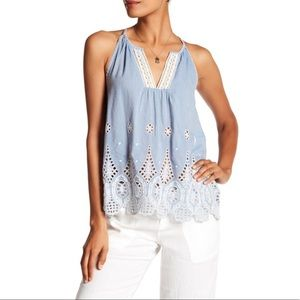 Joie Joseph Racerback Embroidered Chambray Tank L